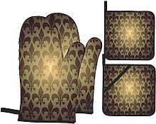 6321 Oven Mitts and Pot Holders Sets of 4,Royal