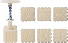 63g Mooncake Mould with 6pcs Square Flower Stamps