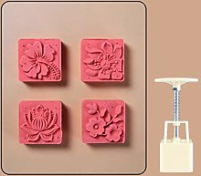 65g Mooncake Mould with 4 Flower Stamps Bakeware