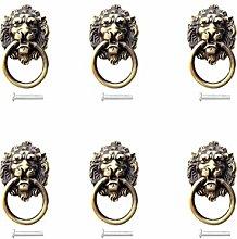 6pcs Antique Brass Metal Lion Head Drawer Ring