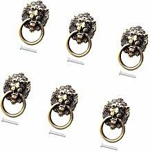 6pcs Antique Bronze Lion Head Knobs Cabinet