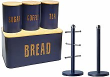 6pcs Bamboo & Tin Food Storage Set - Bread Bin,