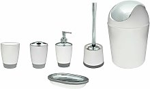 6pcs Bathroom Accessory Set Including Bin, White -