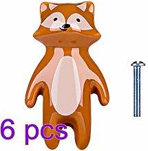 6pcs Children Cartoon Door Knob Ceramic Animal