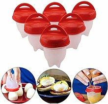 6Pcs Egg Maker, Egg Cooker Set, Non-Stick Silicone