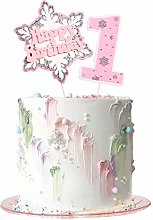 6Pcs Pink Happy 1st Birthday Cake Topper Snowflake