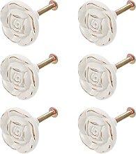6pcs Rose Flower Shape Cabinet Knobs Drawer