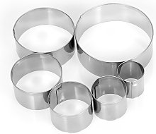 6pcs Round Stainless Steel Cookie Cutters Fondant