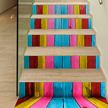 6Pcs / Set 3D Stairs Wooden Wall Decal Sticker Art