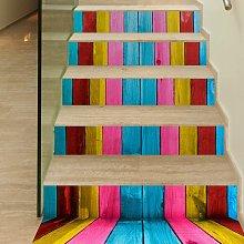 6Pcs / Set 3D Wooden Stairs Art Sticker Decal