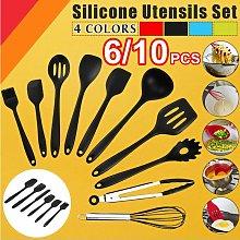 6Pcs / Set Black Silicone Kitchen Utensils Cooking