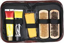 6PCS Shoe Shine Care Kit Black and Neutral Polish