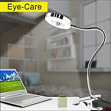 6W Silver LED Clamp Light for Book, Eye Care, Clip