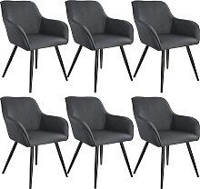6x Accent Chair Marylin - dark grey/black