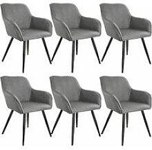 6x Accent Chair Marylin - light grey/black