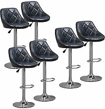 6x Glossy Blue Bar Stools for Kitchens, PU Leather