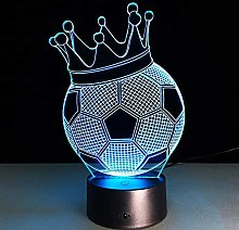 7 Color Change Led 3D Night Lamp Crown Football 3D