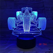 7 Colors Changing Led Night Light 3D F1 Racing Car