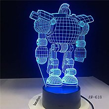 7 Colors USB Energy-Saving 3D Table Lamp Robot