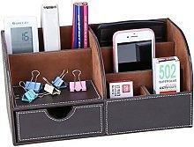 7 Compartments PU Leather Desk Accessories Desk