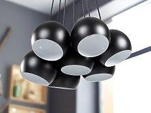 7-Light Cluster Pendant Black Metal Round Shades