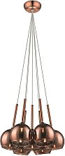 7 Light Cluster Pendant Copper with Glass Shades,