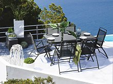 7 piece Outdoor Dining Set Black 6 Seater Table