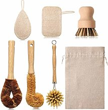 7 Pieces Bamboo Kitchen Brush Kit Include Fiber