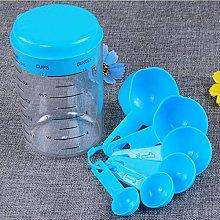 7 Pieces/Set Blue Plastic Measuring Cup Kitchen