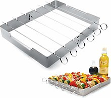 7 Pieces Set Kabob Grill Rack with 6 Skewers