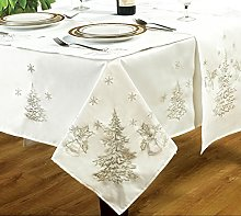 "70"" Round Festive White/Silver Tablecloth,"