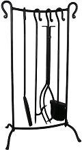 70cm Fire Tool/Companion Set Black Finish On Stand