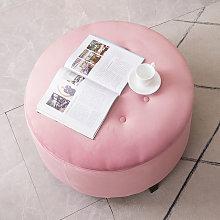 70CM Round Velvet Storage Footstool, Pink