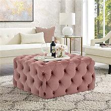 70CM Square Velvet Buttoned Footstool, Pink