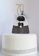 70th Birthday Cake Decoration. Silver Handbag with