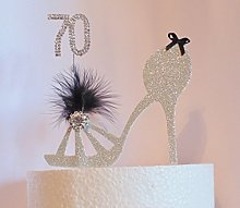 70th Birthday Cake Topper. Silver Shoe Decoration