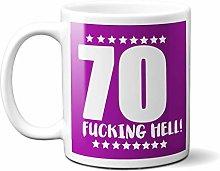 70TH Birthday F**King Hell Purple - White 15oz