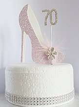 70th Pink and White Birthday Cake Decoration Shoe