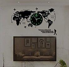 74X34cm World Map Wall Clock Modern Minimalist