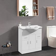 750mm Gloss White Floor Standing Bathroom Cabinet