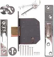 76mm Yale 5 Lever Polished Chrome Deadlock with 2X