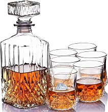 7pc Crystal Whisky Decanter Set with 6 Glasses