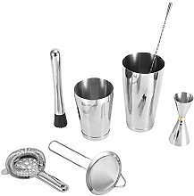 7Pcs Cocktail Shaker, 304 Stainless Steel Brushed