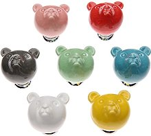 7Pcs Door Handle Ceramic Bear Pattern Novelty
