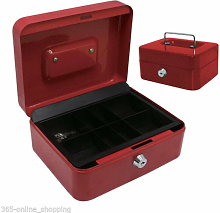8' Secure Metal Petty Cash Box - RED