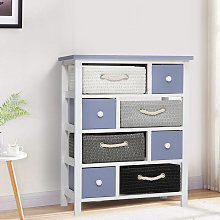 8 Drawers Storage Wooden Woven Basket Tidy Cabinet