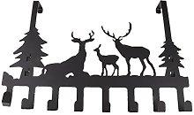 8-Hook Deer Pattern Over The Door Hanger Organizer