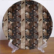8 Inch Brown Customized Dinner Plate,Coffee Typo