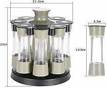 8 Jar Filled Herb And Spice Carousel Stainless