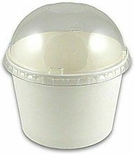 8 oz 100pk Paper Tubs Disposable | Dome Lids | for